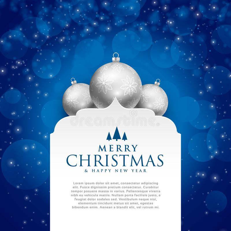 Elegant blue merry christmas design with silver balls stock illustration