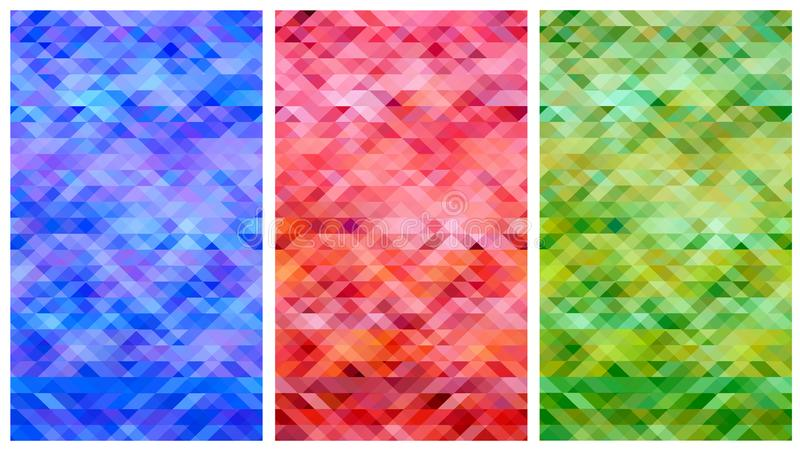 Elegant blue red green abstract polygon set vector background stock illustration