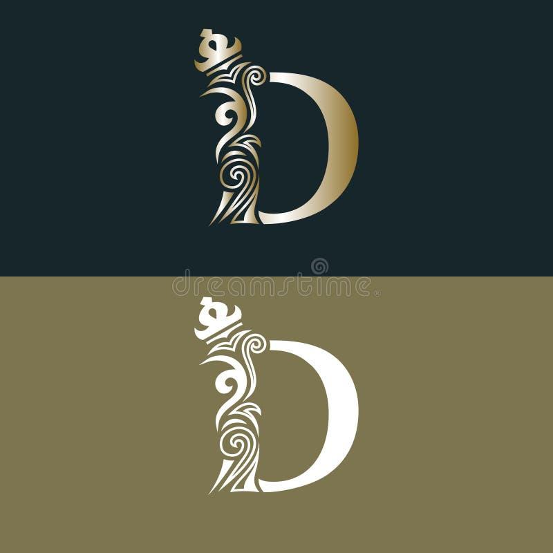 Elegant bokstav D med kronan Behagfull kunglig stil Calligraphic härlig guld- logo Tappning dragit emblem för bokdesignen, märke  stock illustrationer