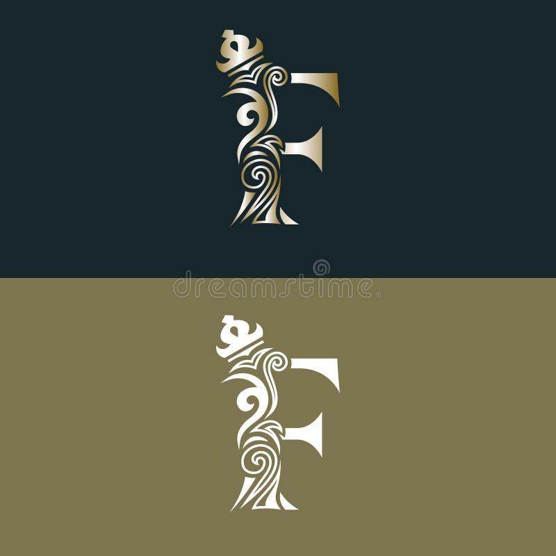 Elegant bokstav F med kronan Behagfull kunglig stil Calligraphic härlig guld- logo Tappning dragit emblem för bokdesignen, märke  vektor illustrationer