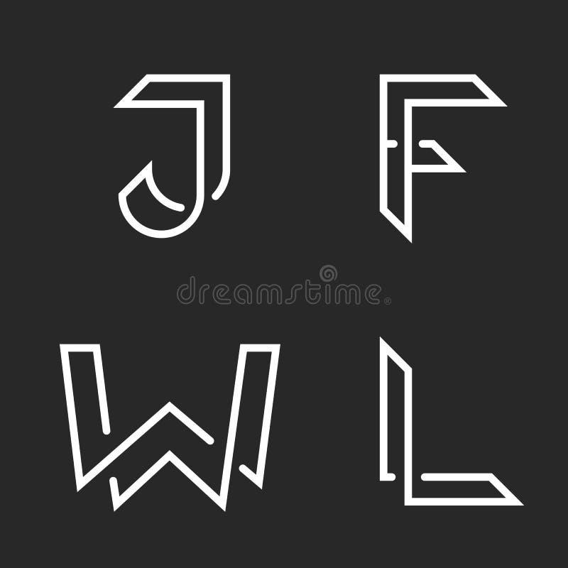 Elegant bokstavsuppsättning W, J, F, L logoer, idérika genomskärningslinjer former, emblem för identitet för samling för typograf royaltyfri illustrationer