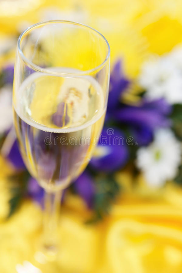 Download Elegant Bouquet And Glass Of Champagne Stock Image - Image: 13365149