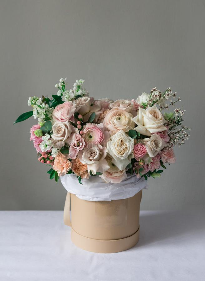 Elegant box with flowers, fresh, hand-made florist, flower box stock image