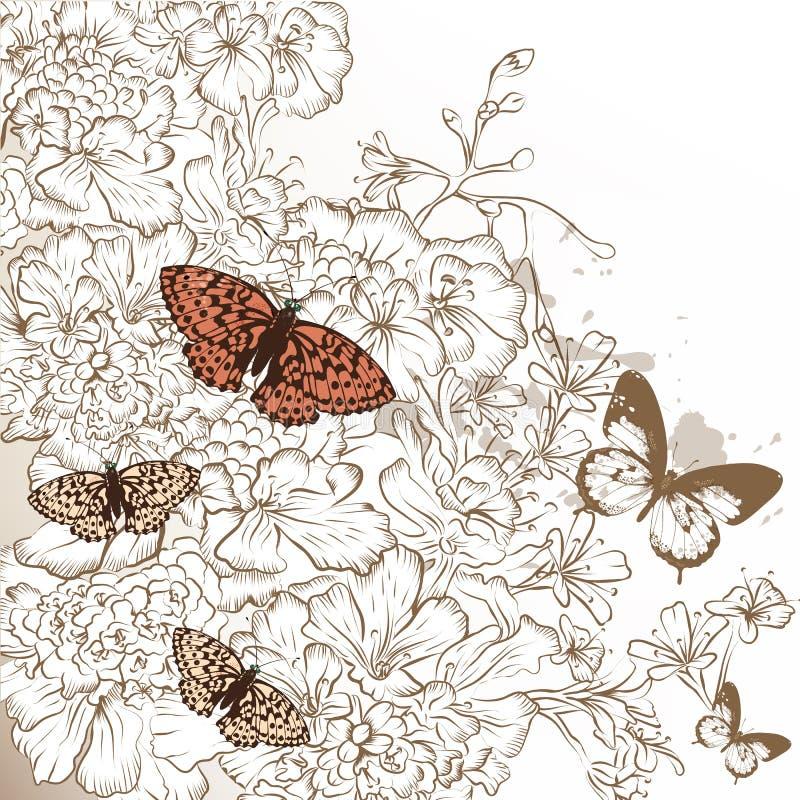 Elegant bröllopdesign med hand drog blommor och fjärilar royaltyfri illustrationer