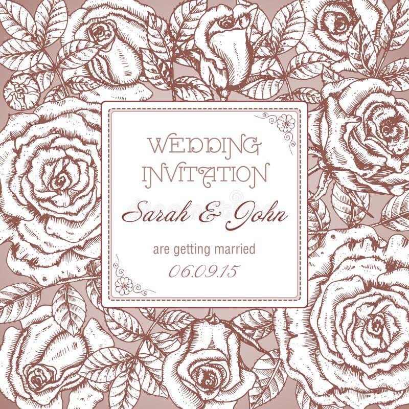 Elegant bröllopinbjudan för tappning med grafiska rosor royaltyfri illustrationer