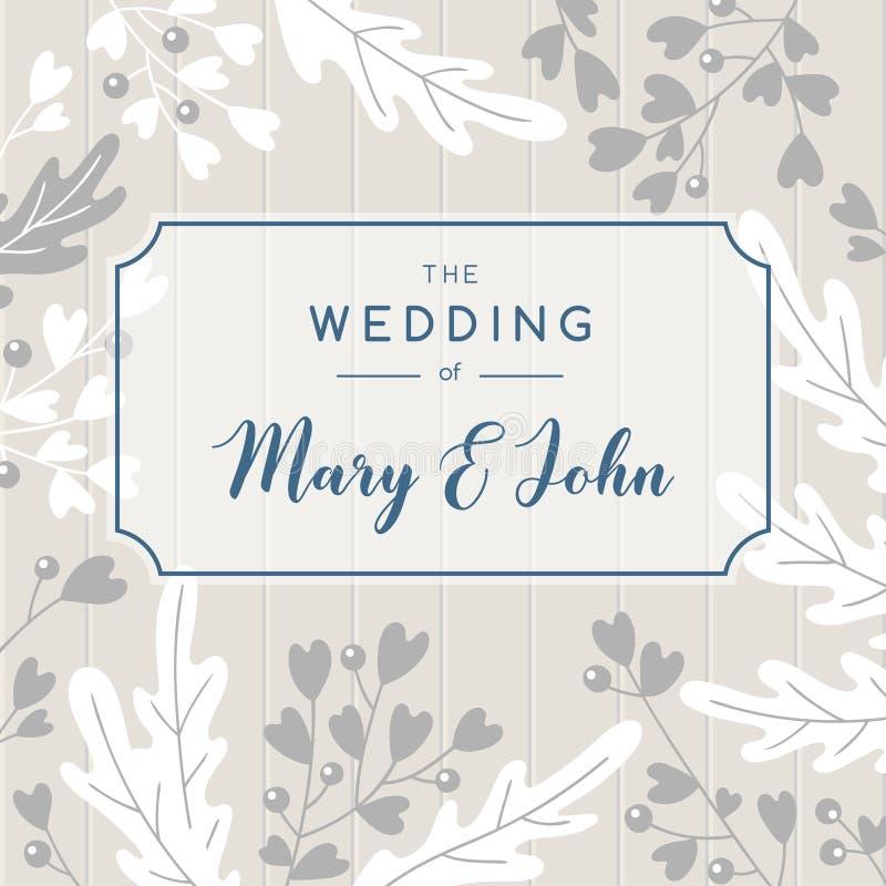 Elegant bröllopinbjudanbakgrund Design för vektorhälsningkort vektor illustrationer