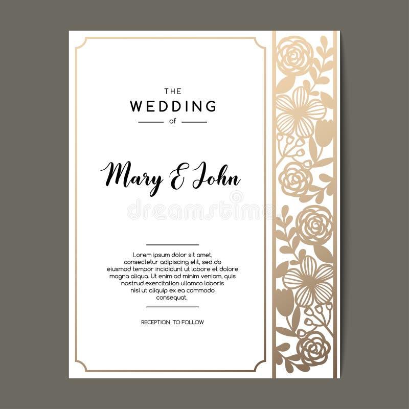 Elegant bröllopinbjudanbakgrund med den blom- prydnaden Design för vektorhälsningkort vektor illustrationer