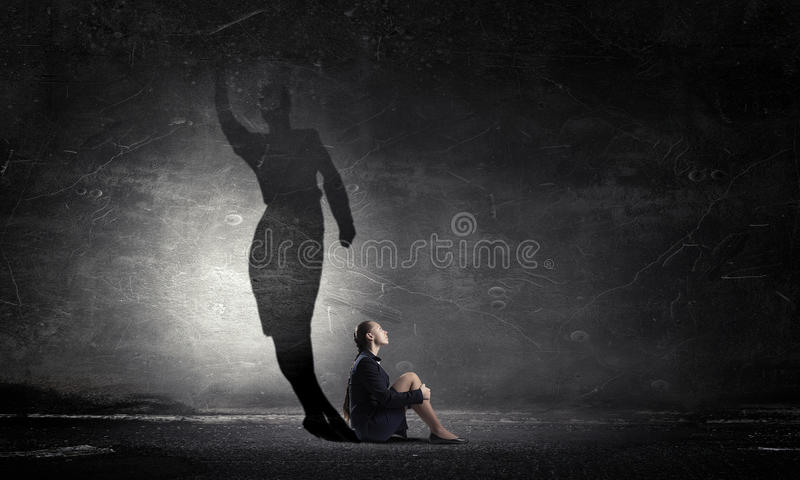 Elegant but brave and determined inside . Mixed media royalty free stock image