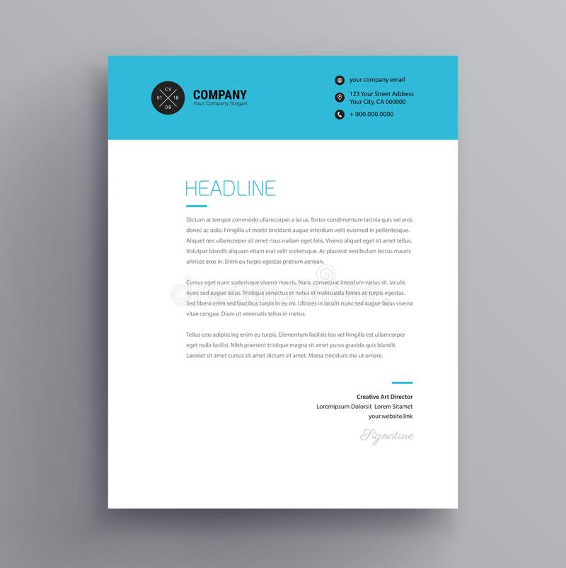 Elegant brevhuvud-/följebrevmalldesign i minimalist vektor illustrationer