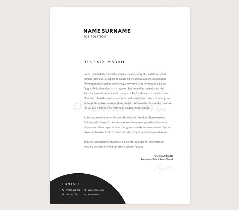 Elegant brevhuvudmalldesign i minimalist stil royaltyfri illustrationer