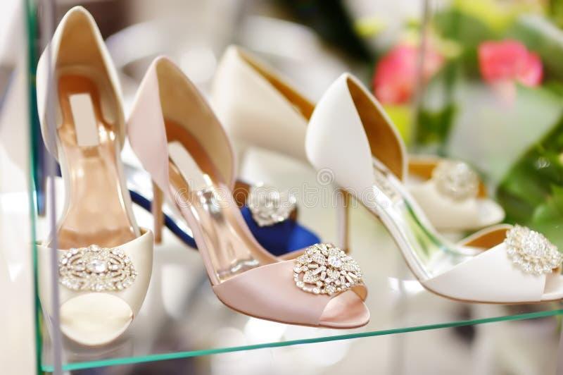 Elegant bridal or ballroom dance shoes. Bridal shopping royalty free stock image