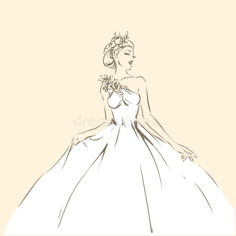 Elegant bride in beautiful dress, posing woman royalty free illustration