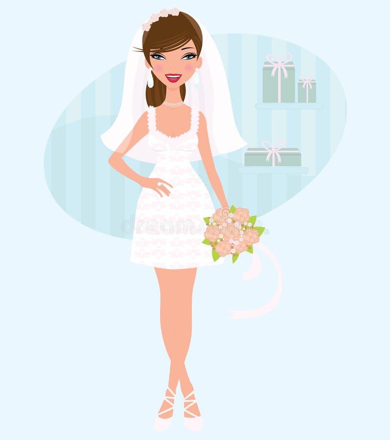Elegant bride posing vector illustration
