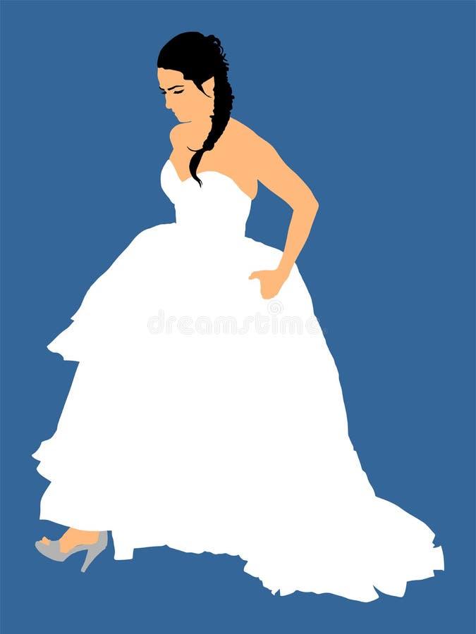 Elegant Bride On Wedding Day, In Wedding Dress Vector Illustration ...