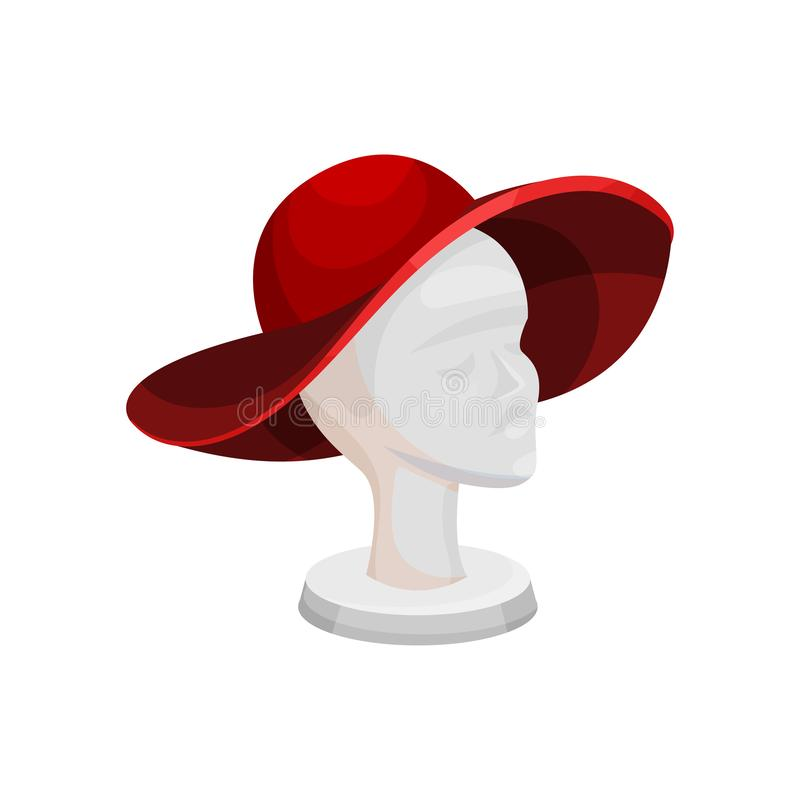 Elegant red wide brimmed hat on female mannequin head. Stand for headdress. Fashion accessory. Flat vector icon stock illustration