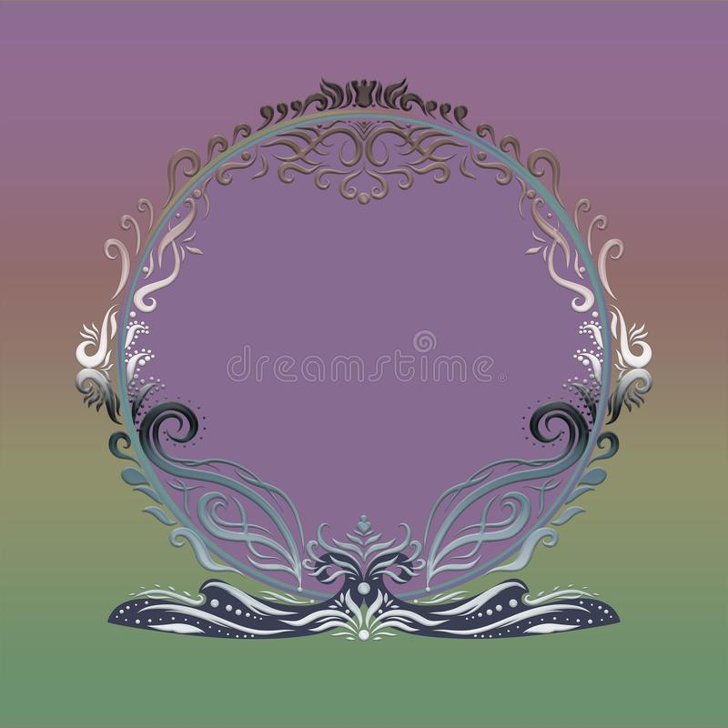 Elegant bright round frame on the background with green and purple gradient, painted lines with swirls.  royalty free illustration