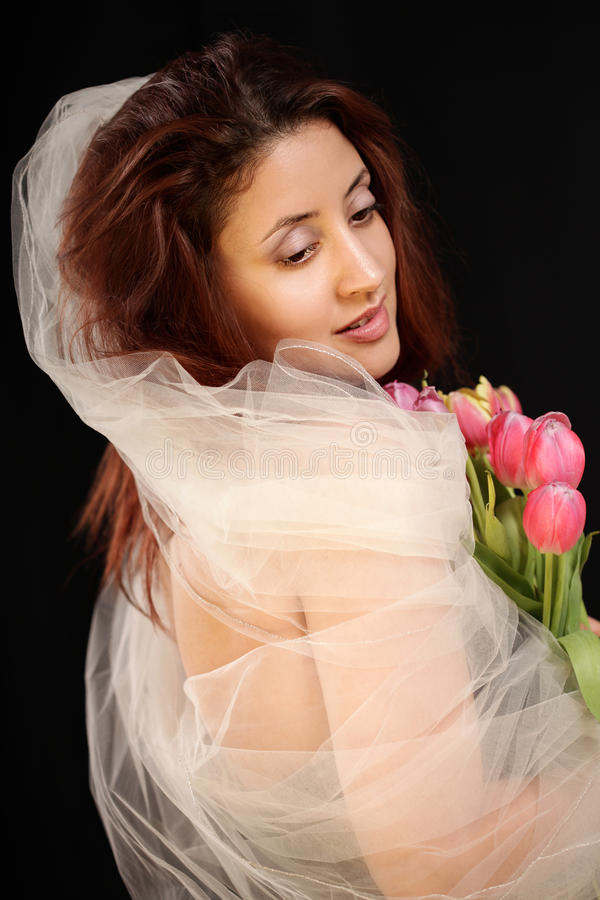 Elegant bruids portret royalty-vrije stock fotografie