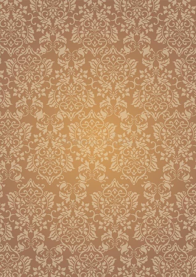 Elegant brun bakgrund för tapet för blommamodell texturerad vektor illustrationer
