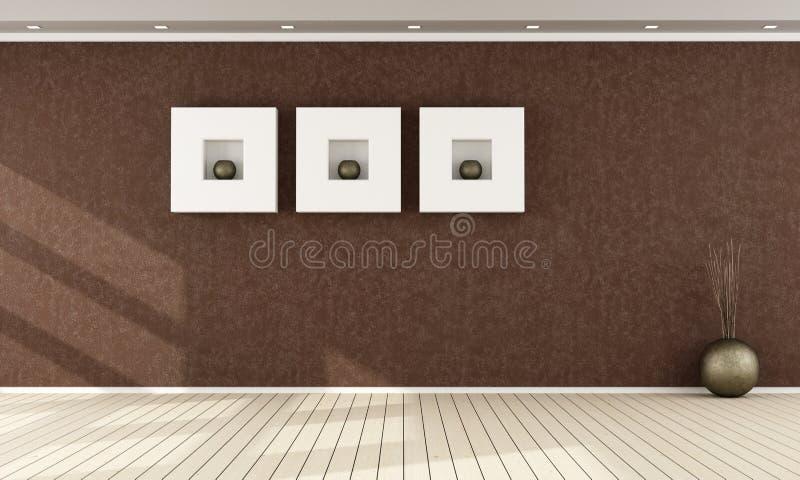Elegant brun inre stock illustrationer