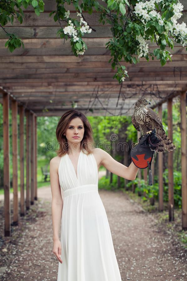Elegant brunette bride woman in white dress holding hawk bird, outdoors portrait royalty free stock image