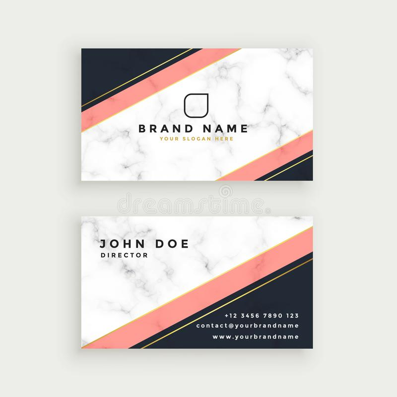 Elegant business card design with marble texture stock illustration