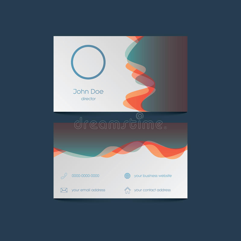 Elegant business card template with colorful stock illustration