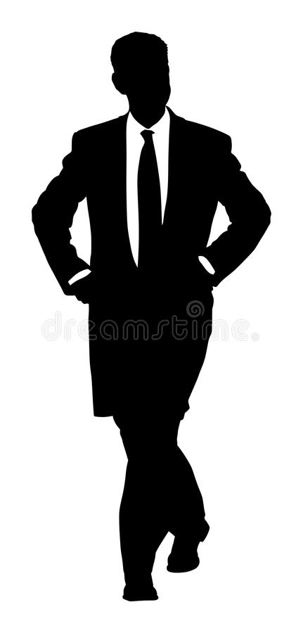 Elegant business man. Confident leader standing. Businessman go to work silhouette illustration. Handsome senior business man in suite and tie. Standing casual royalty free illustration
