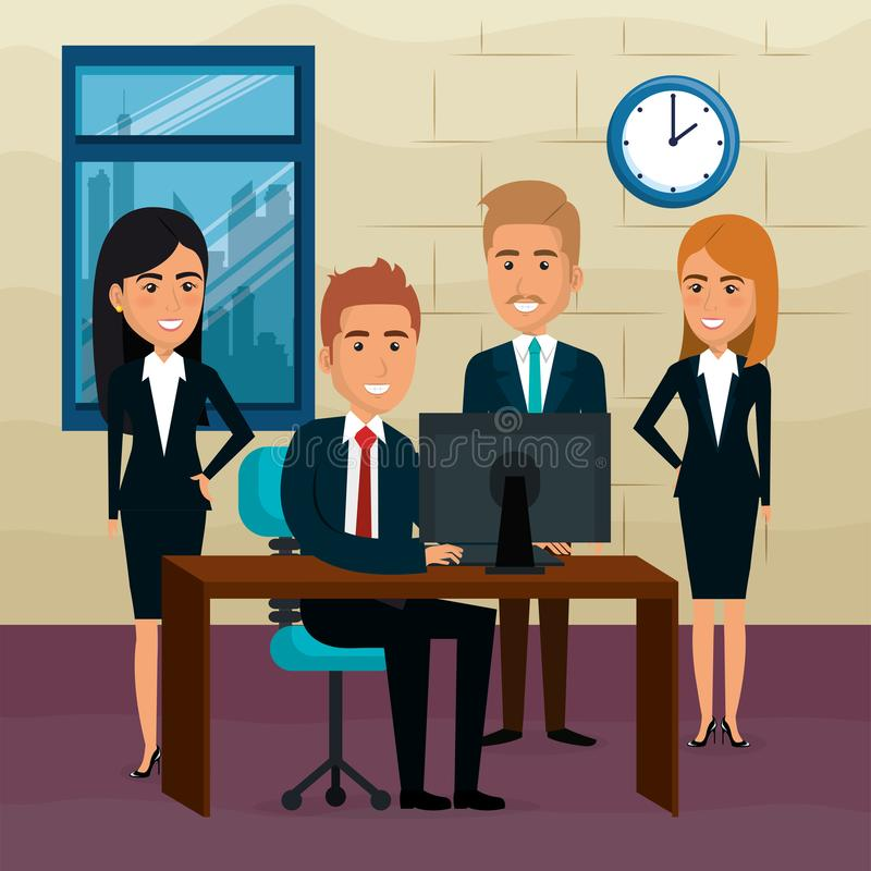 Elegant business people in the office scene royalty free illustration