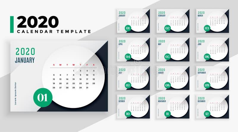 Elegant 2020 business style calendar layout template design royalty free stock image