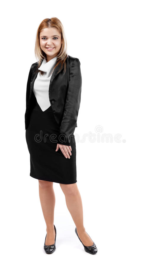 Elegant business woman posing and smiling to camera stock photography