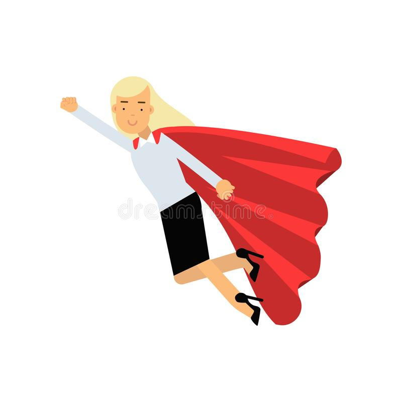 Elegant business woman wearing formal clothes and red superhero cloak. Blond lady character in flying action. Career vector illustration