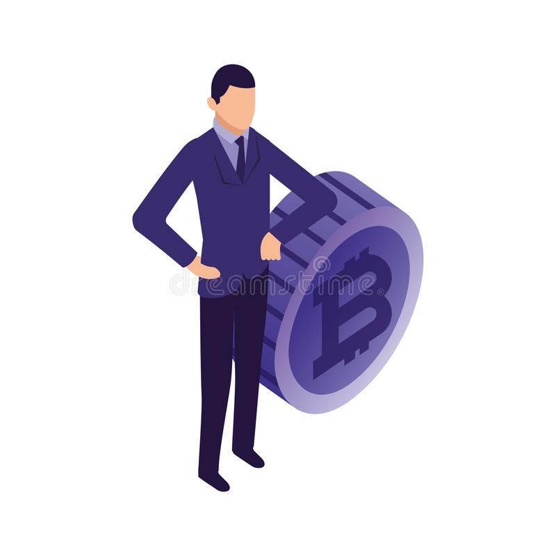 Elegant businessman with bitcoin character royalty free illustration