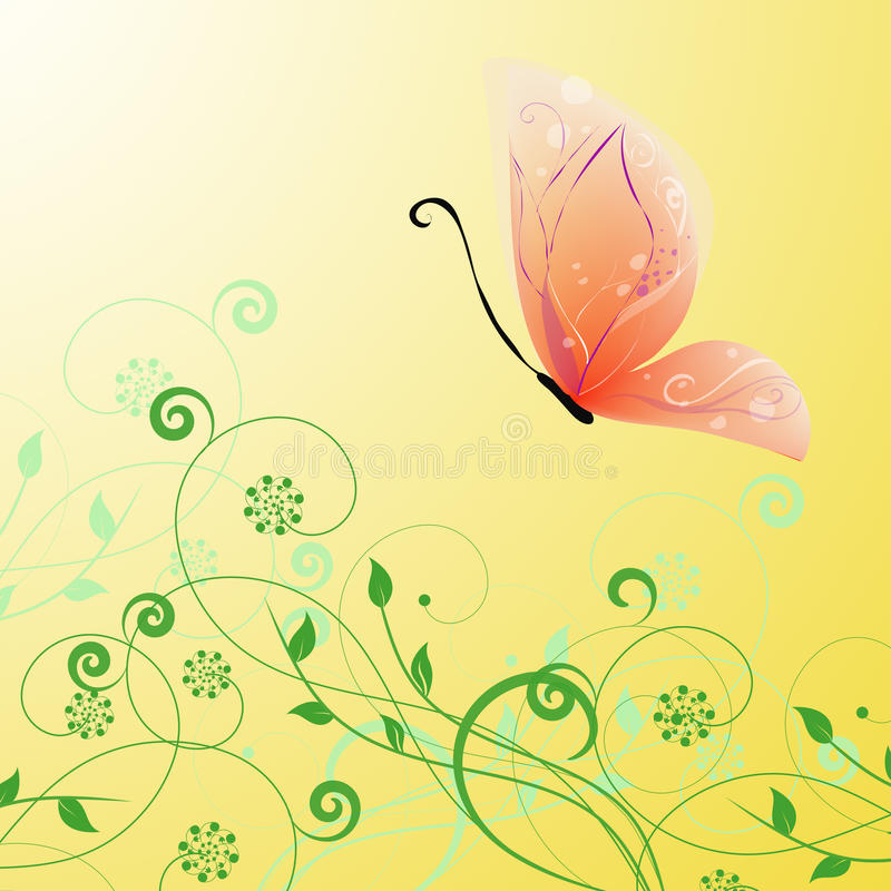 Elegant butterfly vector. Elegant butterfly with foliage on gradiend background royalty free illustration