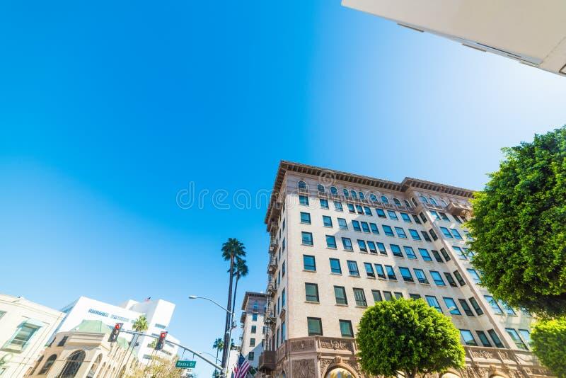 Elegant byggnad i rodeodrev i Beverly Hills arkivbilder