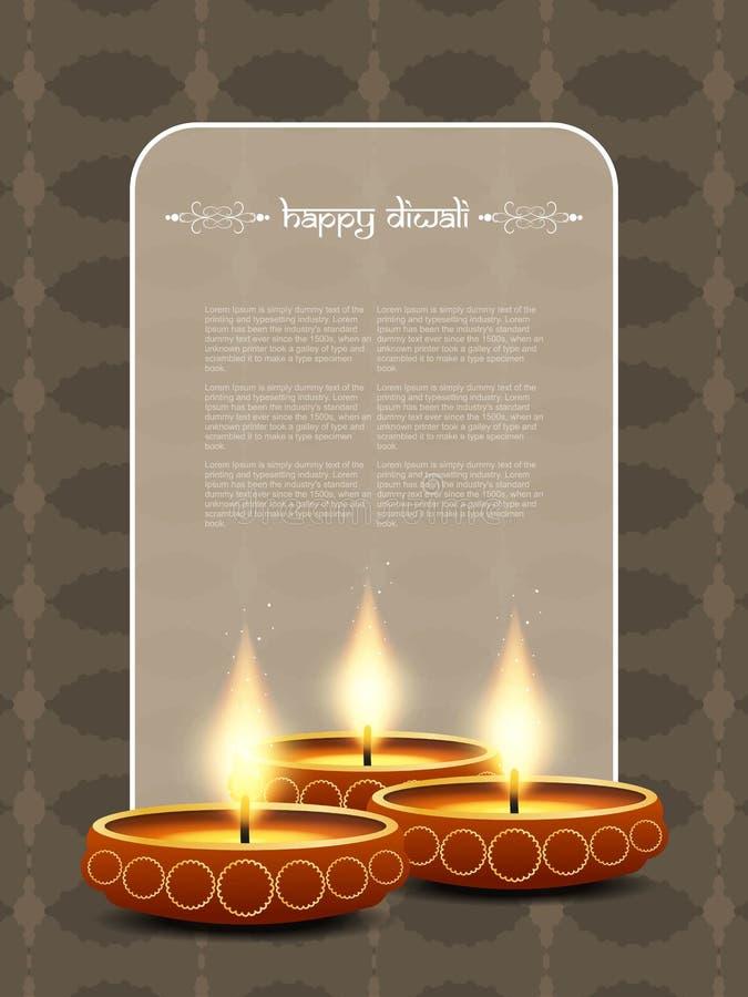 Elegant card design for diwali festival stock illustration