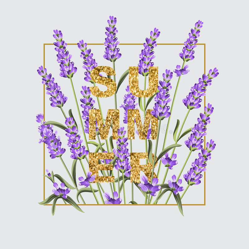 Elegant card with lavender flowers. royalty free illustration