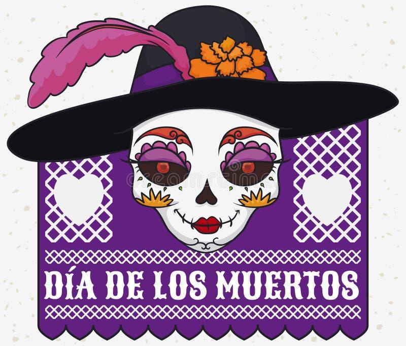Elegant Catrina Skull with Hat for Mexican Dia de Muertos, Vector Illustration stock illustration