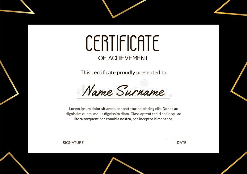 Elegant certificate of achievements with gold gradient triangles. Horizontal template for educational courses, training and gift vector illustration
