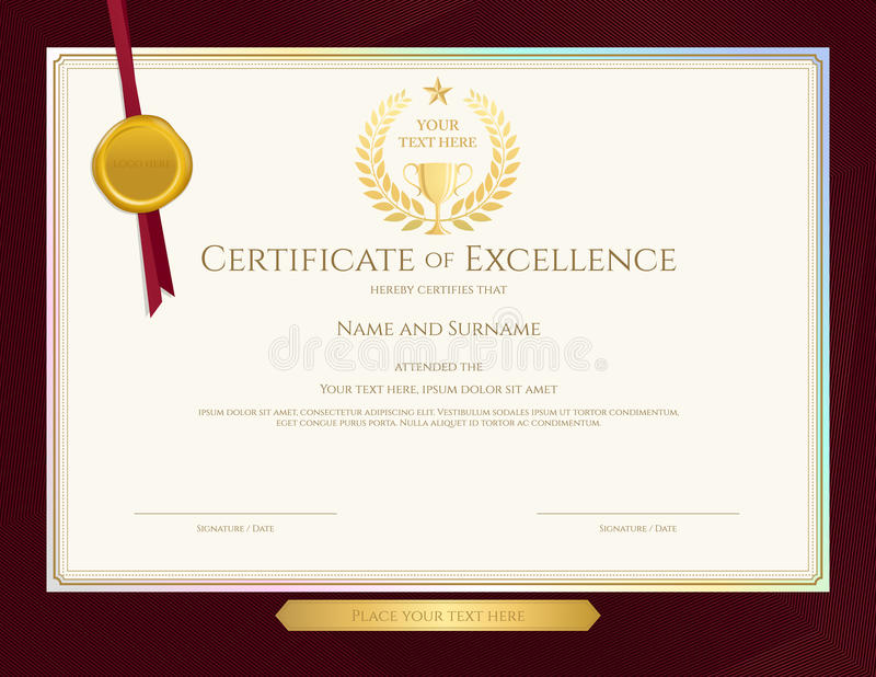 Elegant certificate template for excellence achievement apprec download elegant certificate template for excellence achievement apprec stock vector illustration of ornate yadclub Choice Image