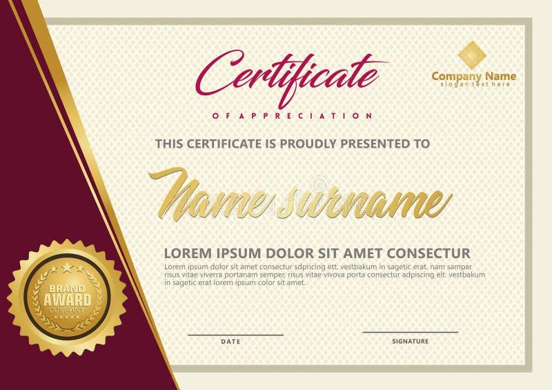 Elegant certifikatmallvektor med lyxig och modern modellbakgrund stock illustrationer