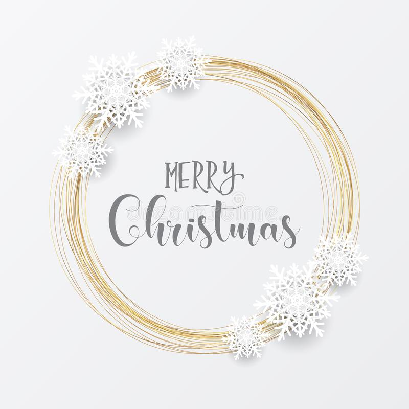 Elegant Christmas background with gold circular frame and snowflakes vector illustration