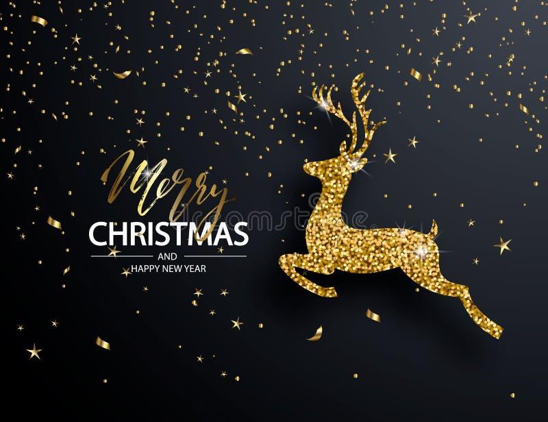 Elegant Christmas Background with Shining Gold deer. Vector illustration royalty free illustration