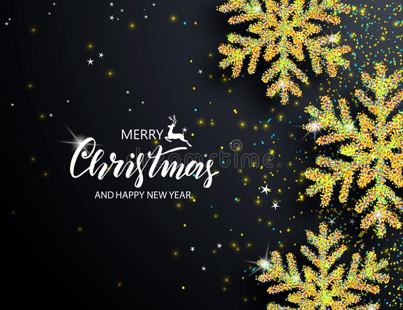 Elegant Christmas Background with Shining Snowflakes. Vector illustration. stock illustration