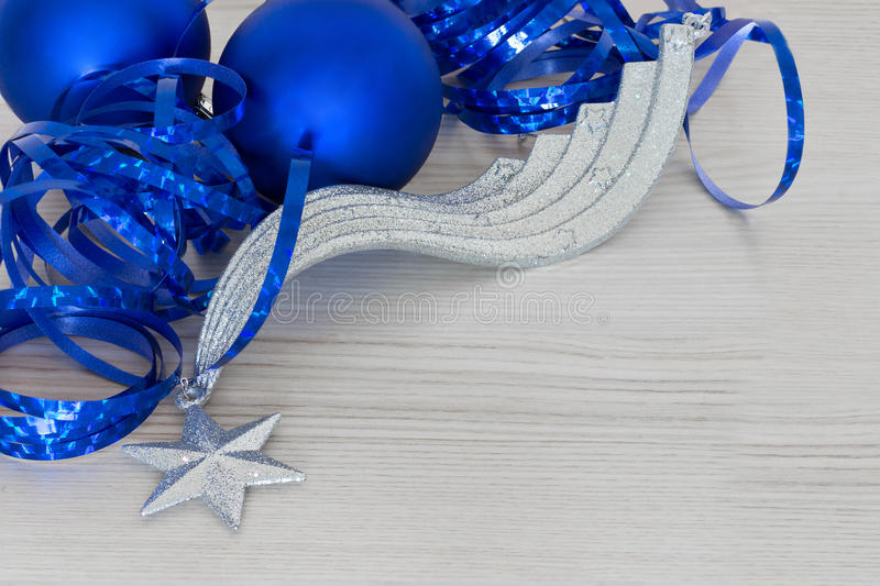 Elegant Christmas ball Background. With blue ribbons stock photos