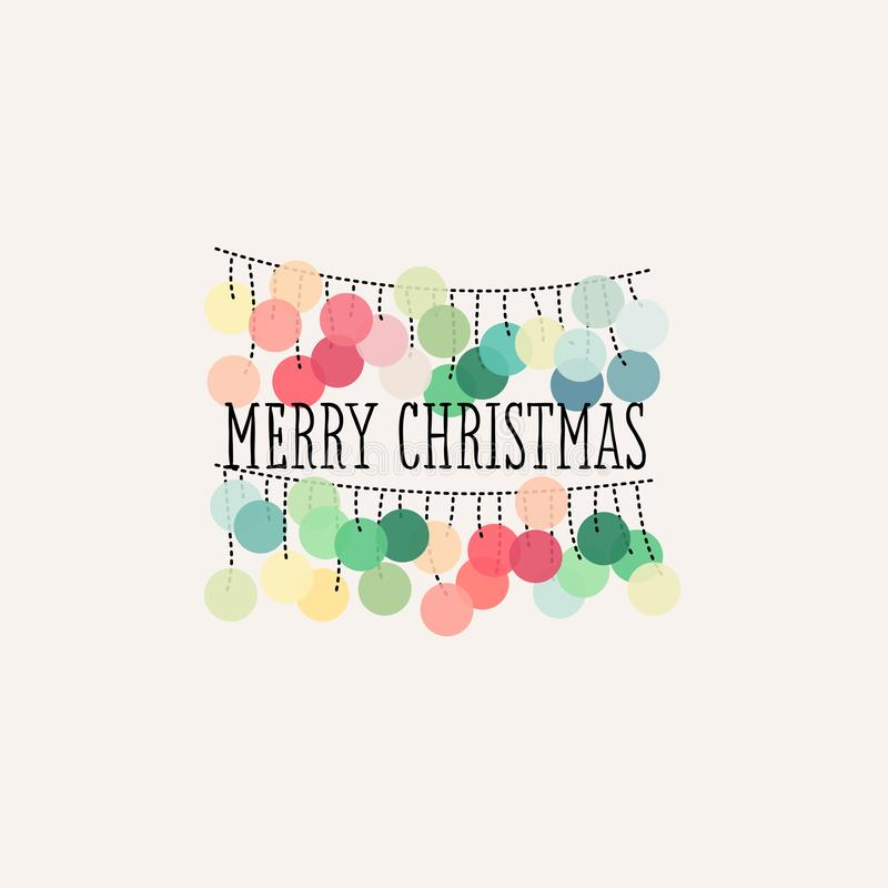 Merry Christmas card with pastel colored pom pom garland stock illustration