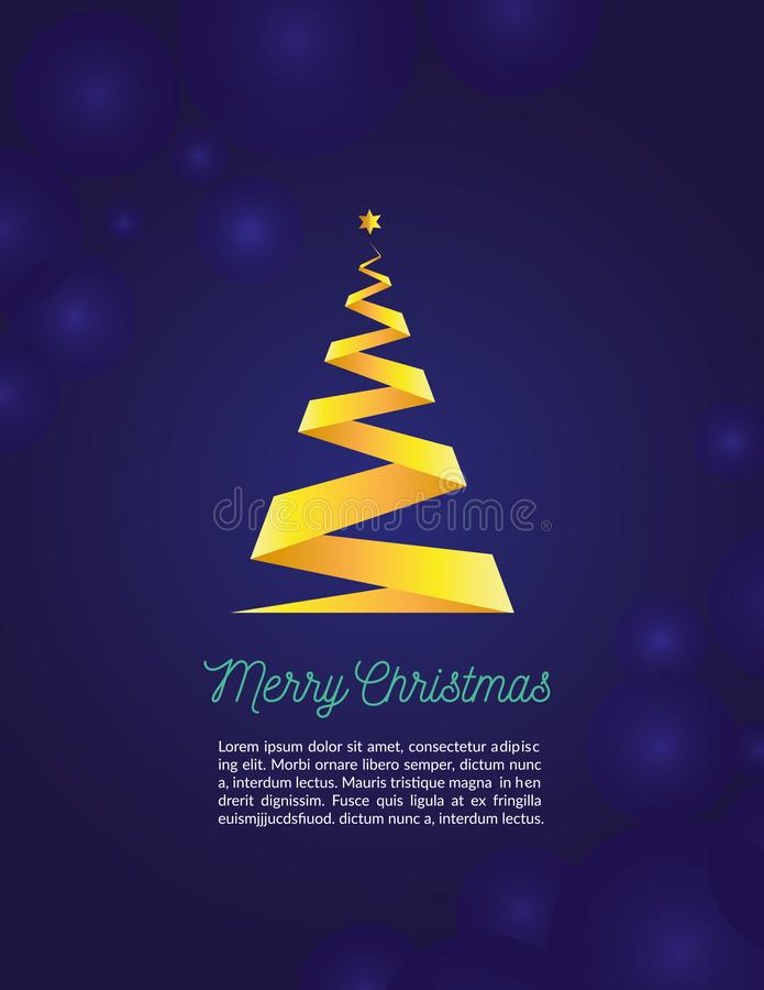 Merry christmas fancy gold xmas tree in ribbon style on navy background. Ideal for greeting card or elegant holiday party invitati royalty free illustration