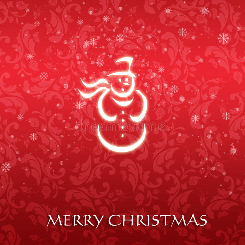 Elegant Christmas card with a symbolic snowman vector illustration