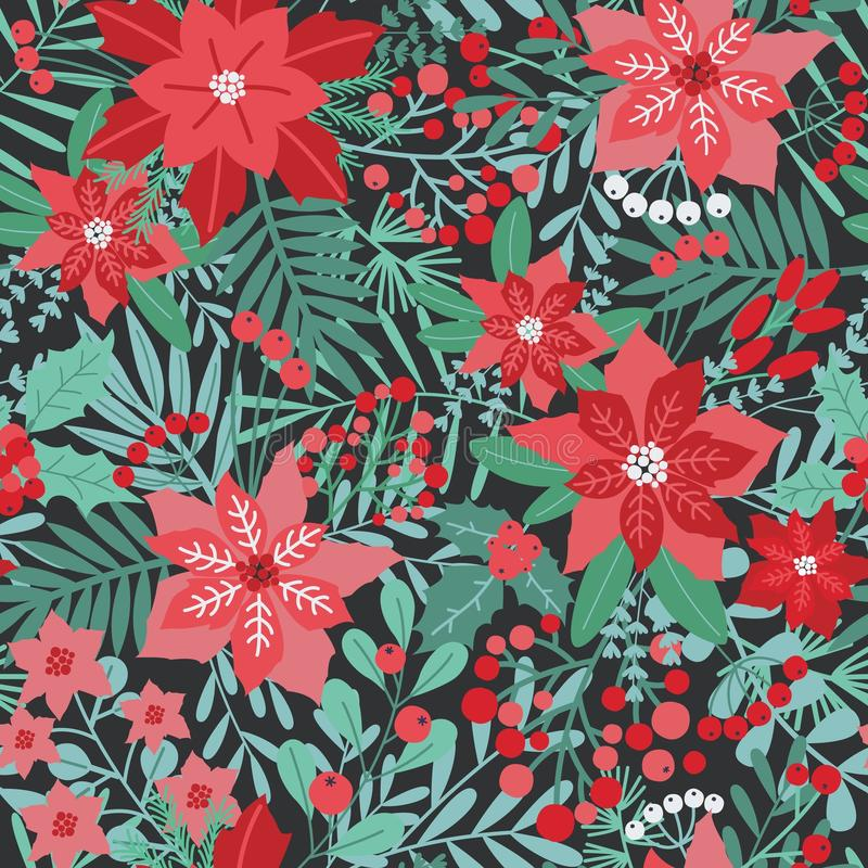 Elegant Christmas festive seamless pattern with green and red traditional holiday natural decorations on dark background royalty free illustration