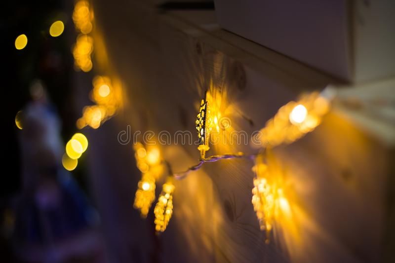 Elegant Christmas garlands. Holiday, celebration and new year concept royalty free stock photos