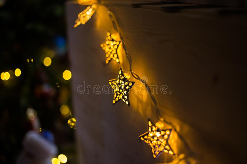 Elegant Christmas garlands. Holiday, celebration and new year concept stock photography
